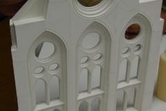 estructura neogotica exterior en maqueta