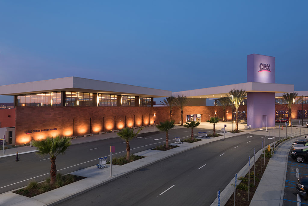 Cross Border Xpress, Otay Mesa (San Diego) California. Pedestrian bridge crossing from US to Mexico's Tijuana Interntational Airport.
